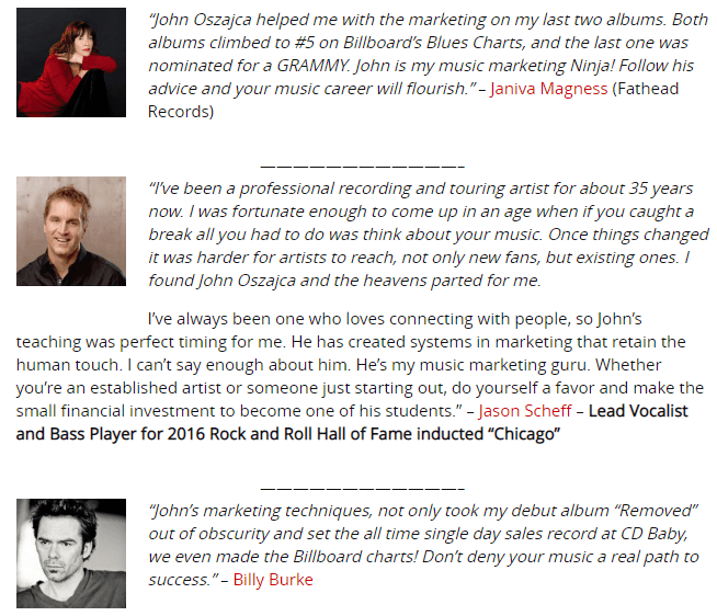 Music Marketing Manifesto Testimonials